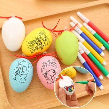 6 Pcs Easter Egg  4 Color Pens For Kids DIY Painting Toy Decoration Gift Craft Toys Learning Education Drawing Toys