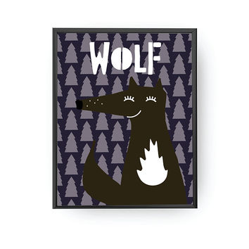Wolf Typography, Kids Education, Wolf Poster, Typography Poster, Classroom Decor, Nursery Art, Cute Illustration, Kids Print, Baby Wall Art