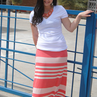 Coral and Ivory Striped Maxi Skirt