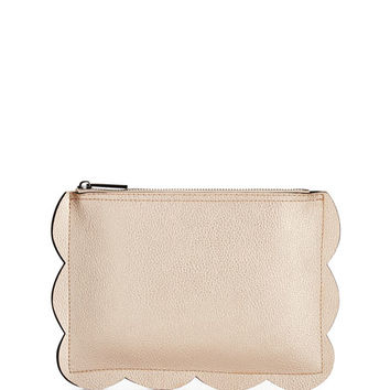 Scalloped Small Pouch Bag, Rose Gold/Charcoal