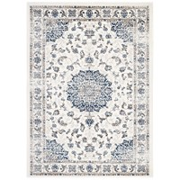Lilja Distressed Vintage Persian Medallion 5x8 Area Rug Ivory and Moroccan Blue