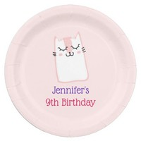 Pink Sleeping Kitty Cat Birthday Paper Plate