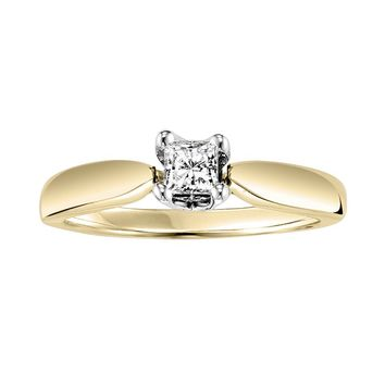 Cherish Always Princess-Cut Diamond Engagement Ring in 14k Gold Two Tone (1/3-ct. T.W.) (White)