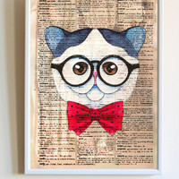 Cute Hipster Cat With Glasses Print Funny Kitten Anime Dictionary Paper Animal Poster Bedroom Wall Art Decor