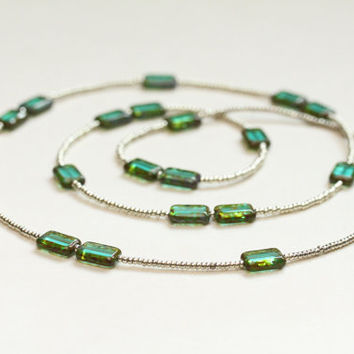 geometric long glass necklace / turquoise czech glass / long beaded necklace / 1920s style gatsby inspired / spring summer mothers day
