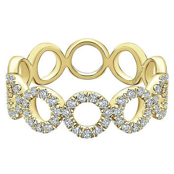 14K Yellow Gold Pave Diamond Circle Station Stackable Ring