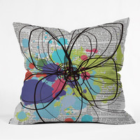 Irena Orlov Flower On Old Newspaper Throw Pillow