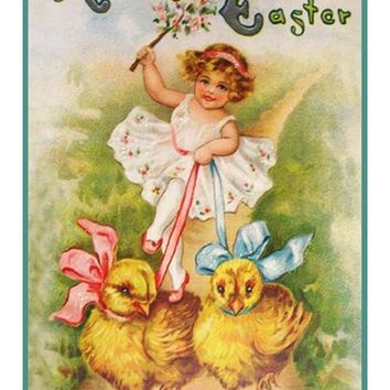 Vintage Easter Young Girl Walking Her Pet Chicks Counted Cross Stitch Pattern