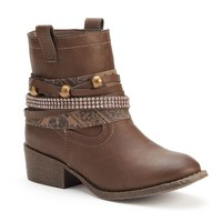 Candie's Girls' Sparkle Western Ankle Booties (Brown)