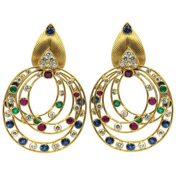Cartier Earrings 1950 Yellow Gold Diamonds, Ruby, Sapphire and Emeralds