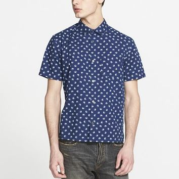 Men's MARC BY MARC JACOBS Trim Fit Palm Print Short Sleeve Chambray Sport Shirt