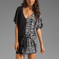 Plenty by Tracy Reese Tie Dye Placement Jersey Fanny Wrap Chemise in Black/Bone from REVOLVEclothing.com