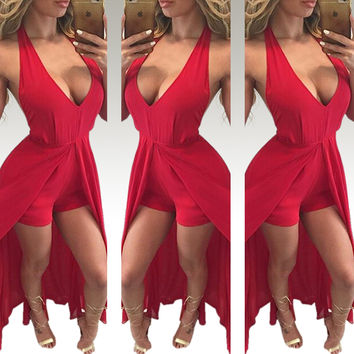 Red Halter Deep V-Neck Open Front Maxi Dress