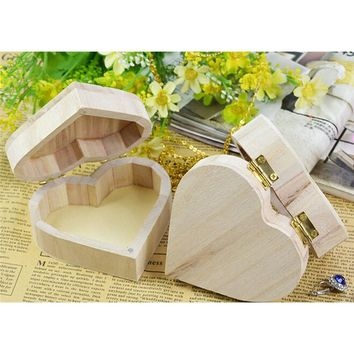 Storage Boxes Heart Shape Wood Box Jewelry Box Wedding Gift Makeup Container Bin Earrings Ring Desk Rangement Wooden Organizer