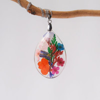 Botanical Resin Pendant  -Real flowers Necklace - Real Pressed Flower Encased in Resin, Mixed flowers jewelry