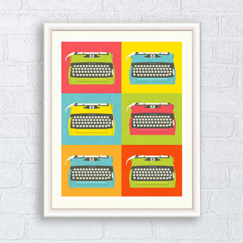 Kitchen art print, Retro typewriter poster, Nursery art, Child's home decor, Pop art style
