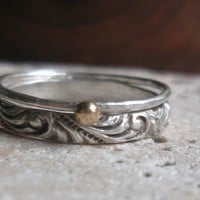 Renaissance Pattern Stacking Rings with Solid Gold by tinahdee