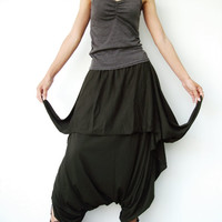 NO.86 Army Green Cotton Jersey Cool Unique Asymmetric Casual Loose Novelty Harem Pants Trendy Unusual Trousers