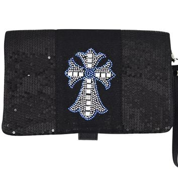 Crystal Cross Black Sequin Beaded Foldover Crossbody Bag - Wristlet Bag