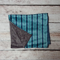 """Minky Baby Blanket // Teal, Gray & Blue // 30"""" x 36"""" // Machine Washable // READY TO SHIP!"""
