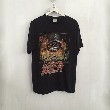 Slayer shirt 90s vintage t shirt band t-shirts rock tshirt heavy metal clothing rock tees black large