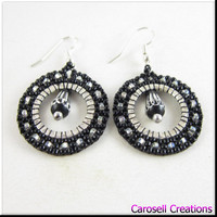 Hoop Seed Bead Earrings Beadwork in Black and Silver With Aluminum Tear Drop