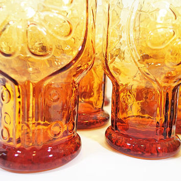 Libbey Country Garden Amber set of 13 vintage Water Gobles and Juice Glasses, embossed flowers and leaves on heavy clear amber glass