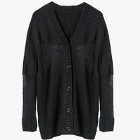 Black Knit Button Down Cardigan