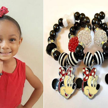 Minnie Mouse Bracelet, Black, White, Red Charm Bracelet, Girls Handmade, Custom, Beaded Jewelry