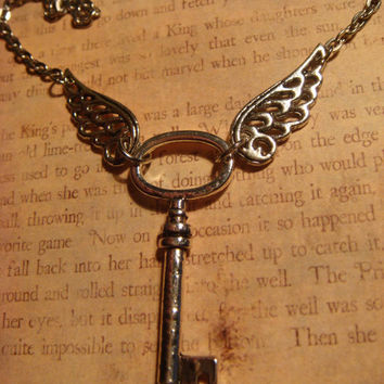 Skeleton Key Necklace with Wings- Antique Silver