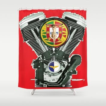 Portuguese Christian Motorcyclist. Shower Curtain by Tony Silveira