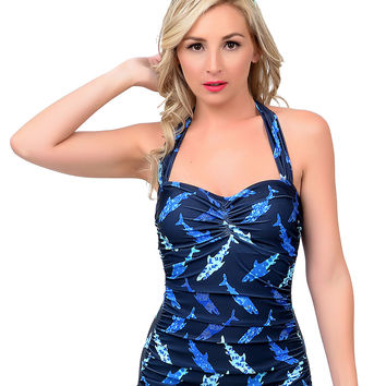 Esther Williams 1950s Pin Up Navy Shark Print Sheath Halter Swimsuit