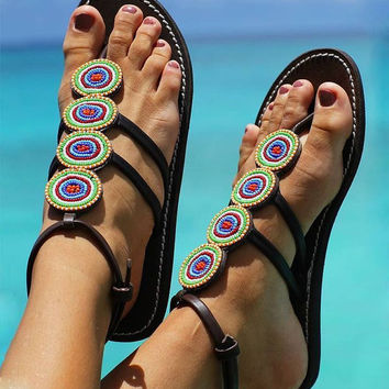 African Rings Maasai Beaded Sandals /Flipflops