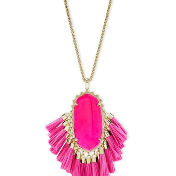Kendra Scott: Betsy Gold Long Pendant Necklace In Pink Agate