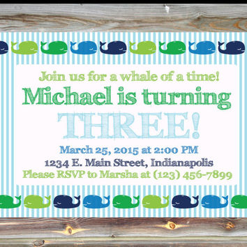 Printable Custom Third Birthday Invitation for Boy - 3rd Birthday Invite - Whale Theme Birthday Party Invite - Under the Sea Theme Invite