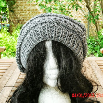 Knit Hat - The Eyelet Rasta in Gray - Womens Hat - Womens Accessories - READY TO SHIP