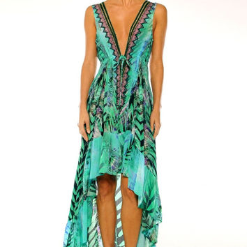 Parides High End Palm Print Silk Dress