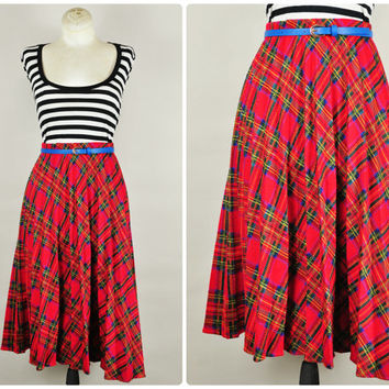 1970s red plaid schoolgirl preppy accordian pleated high waist midi skirt vintage prep school