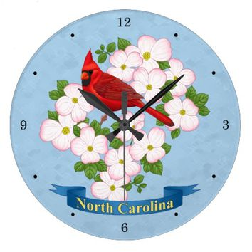 North Carolina State Cardinal Bird Dogwood Flower Large Clock