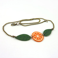 Recycled CD necklace : Slice of orange and green leaves - by Savousepate
