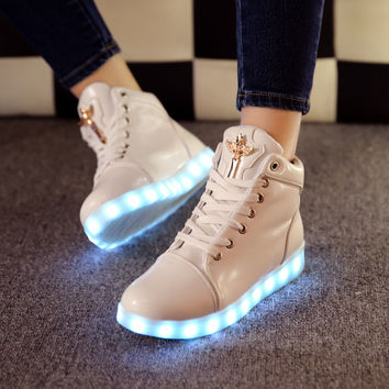 Hot Deal Hot Sale On Sale Lightning Flat Shoes LED Noctilucent Boots [4964954564]