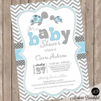 Baby blue and gray sea turtle baby shower invitation, chevron invitation, baby shower invitation, sea turtle, boy, printable invitation