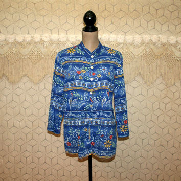 Blue Paisley Shirt Cotton Blouse Collarless Tunic Hippie Bohemian Floral Button Up Top Crazy Horse Large XL Vintage Clothing Womens Clothing