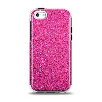 The Pink Sparkly Glitter Ultra Metallic Apple iPhone 5c Otterbox Symmetry Case Skin Set