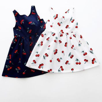 Blue, White Green Cute Girl's Summer Dress w/Bow