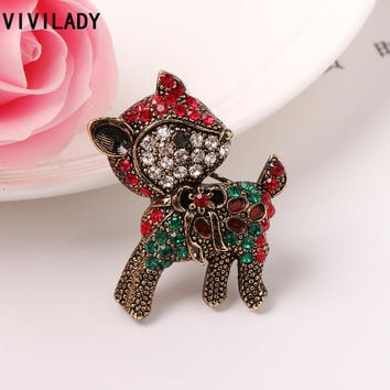 Rhinestone Reindeer Ugly Christmas Sweater Brooch