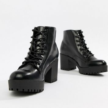 New Look Lace Up Chunky Heeled Boot at asos.com