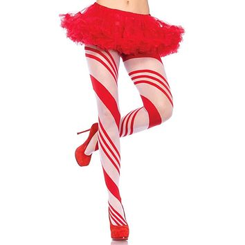 Christmas Present Red White Candy Cane Stripe Pattern Tights Stockings Hosiery