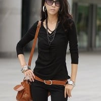 Buy Korean Style All Match T-shirt Black with cheapest price wholesale-dress.net