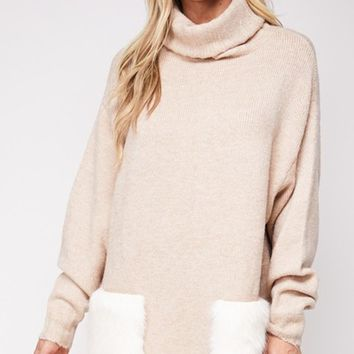 In A Fluff Long Sleeve Turtleneck Loose Oversized Faux Fur Pocket Pullover Tunic Sweater - 3 Colors Available